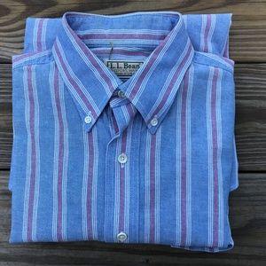 L.L. Bean Men Button Down Shirt Cotton Long Sleeve